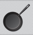 steel empty frying pan isolated realistic vector image