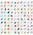 100 booklet icons set isometric 3d style vector image