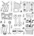 Hand draw music theme doodles vector image