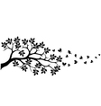 tree silhouette with butterfly vector image vector image