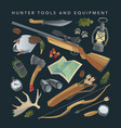 hunter equipment set vector image