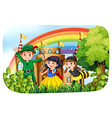 Children in costume having fun in the park vector image vector image