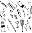 Doodle art materials vector image