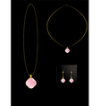 Pink stone necklace set vector image