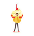 smiling man wearing cupcake costume puppets food vector image