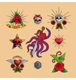 Traditional tattoo art icons vector image