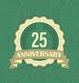 25th anniversary label on a green ornament vector image