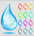 set of transparent multicolored drops vector image