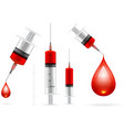 Blood drop and syringe vector image vector image