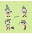 A set of cute little gnomes vector image