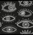 boho style eyes seamless pattern black vector image