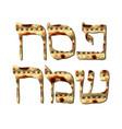 matza pesach sameach hebrew happy passover vector image