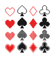 set of pixel hearts clubs spades and diamonds ic vector image