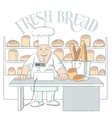 Hand Drawn Baker Character In Shop vector image vector image