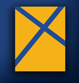 Brochure design blue cross on yellow background vector image