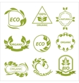 Organic products eco labels logo vector image