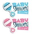 Baby Shower Invitations with Rattles vector image