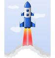 blue cartoon steel rocket flying vector image