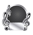 circular metallic frame with grill perforated and vector image