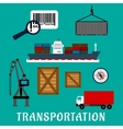 Shipping and delivery flat icons vector image