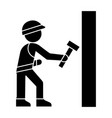 worker builder with hammer icon vector image