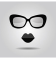 abstract hipster lady sunglasses and lips icon vector image