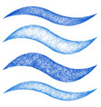 Blue sketch wave line design element set vector image