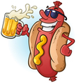 Hot Dog Cartoon with Sunglasses and Beer vector image