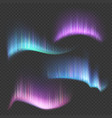 northern aurora lights strips isolated on vector image