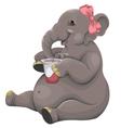 Elephant eats yogurt vector image vector image