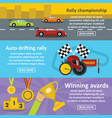 racing auto banner horizontal set flat style vector image