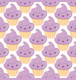 seamless pattern with cupcakes isolated on white vector image