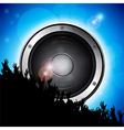 Speaker with crowd over blue background vector image vector image