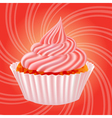 cake with cream on a pink background vector image