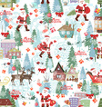 Cute seamless texture with Merry christmas vector image