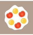 Fried eggs with tomatoes Color flat icon object vector image