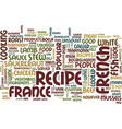The most popular french recipes text background vector image