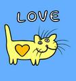 yellow heart cat vector image