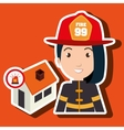 woman firefighter house fire vector image
