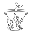 Fish soup in the cauldron icon outline style vector image
