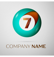 Number seven logo symbol in the colorful circle on vector image