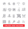 viruses and hackers hacking security cyber vector image