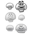 Cute cartoon champignon mushrooms vector image