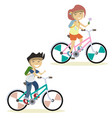 cute children on bike vector image