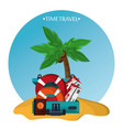 time travel beach sand elements icons vector image