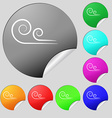 wind icon sign Set of eight multi colored round vector image