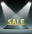 word sale located on the podium and floodlit vector image