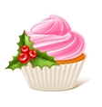Cupcake with mistletoe vector image vector image