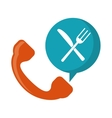 orange telephone food ordering delivery service vector image