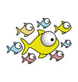 colorful set collection fish aquatic animal vector image